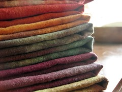 hand-dyed fabrics (peacefulbean ( goodkarma )) Tags: colors handmade fabric dyed stacks hemp handdyed organiccotton