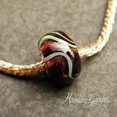 """Burgundy and Gold Swirls Silver Cored Lampwork Glass Bead • <a style=""""font-size:0.8em;"""" href=""""https://www.flickr.com/photos/37516896@N05/6505298535/"""" target=""""_blank"""">View on Flickr</a>"""