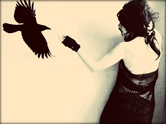 #55 (emifly) Tags: portrait bw white black bird monochrome sepia self mystical 365 crow selfie artinbw