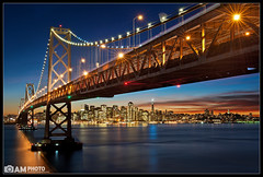 Happy Holidays from the Bay Bridge (Aaron M Photo) Tags: sf sanfrancisco california city longexposure bridge sunset sky holiday skyline night clouds island lights star oakland nikon pretty cityscape