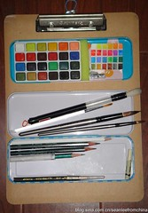 Converted a pupil's pencil box into a watercolor box (seanleefromchinaan amateur painter) Tags: watercolor watercolour sketchkit watercolorset watercolorkit