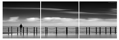 C o n t e m p l a t e (Gary Newman) Tags: sea bw person triptych minimal westonsupermare longexpsore
