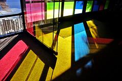 Sunshine through colorful windows, Geisel Library, UCSD (kingdomany) Tags: sandiego ucsd california america us nikon d90 photography color sunshine sunset blacks beach geisel campus young flickr sea