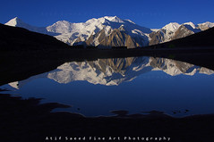 Miar Peak 6824m & Phuparash Peak 6574 m (M Atif Saeed) Tags: blue pakistan mountain lake mountains reflection nature water colors landscape karakoram hunza northernareas gilgit rushlake karamber atifsaeed