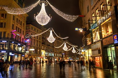 Vienna Christmas shopping (Mike G. K.) Tags: vienna wien christmas street people window wet night reflections shopping geotagged lights austria cafe nikon advent decoration shops handheld hdr graben photomatix 3exp platinumheartaward d5100 nikond5100 geo:lat=4820817074590492 geo:lon=1637103736473466