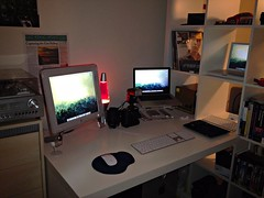 My Desk For the New Year (Ryan J. Nicholson) Tags: camera 2 white ikea apple lamp computer studio mouse lava design mac nikon ibook g4 power display laptop duo ibm quicksilver intel pro 17 isight cpu speakers core lenses powerpc iphone ipad flashgun d90 macbook unibody 4saluminum