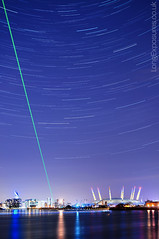 Meridian Tonight (AndWhyNot) Tags: city uk longexposure urban london thames night reflections river stars prime greenwich o2 millenium arena dome laser docklands meridian royalobservatory startrails lightpollution