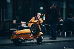 Scooter (Rick Nunn) Tags: orange london dark table rick scooter jacket nunn canonef135mmf2l