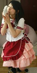 Hopper hope: midnight kiss (shiroibasketshoes hopper) Tags: woman rabbit bunny girl beautiful face japan lady female asian kiss uniform pretty feminine seasonal skirt romance apron midnight attractive romantic anticipation lovely maid seifuku
