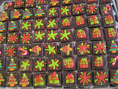 Chocolate Petit Fours with piped Christmas decor (Charly's Bakery) Tags: birthday cake four town tv chocolate wicked angels bakery reality cape vanilla petit charlys