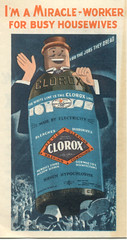 Scary Clorox bottle man stomps on the masses, 1936 (STUDIOZ7) Tags: advertising thirties 1930s scary funny good cartoon ad bleach housewife 30s housekeeping clorox