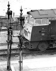 D1053 at Penzance (robmcrorie) Tags: station train rail railway loco trains class western locomotive enthusiast signal railways railfan 1976 52 penzance gwr d1053