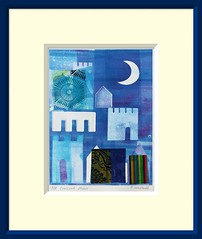 Crescent Moon (Cecca W) Tags: blue original moon abstract art fdsflickrtoys monoprint towers morocco mounted moonlight matted crenelations