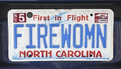 FIRE WOMAN or FIREWOMN (NC Cigany) Tags: woman fire nc northcarolina licenseplate vanityplate wilmington licensetag firewoman 0747 20111204