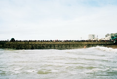 christmas day swim spectators (lomokev) Tags: sea people beach sport swimming swim nikon brighton kodak crowd swimmers portra groyne nikonos kodakportra400 kodakportra deletetag nikonosv nikonos5 christmasdayswim nikonosfive christmasdayswim2011 roll:name=120104nikonosvportra file:name=120104nikonosvportra15