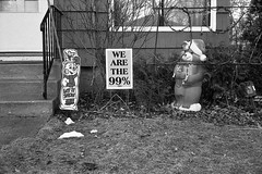 Occupy 26th St. (roll-a-week 1/52) (A Brand New Minneapolis) Tags: blackandwhite bw holiday film diy blog funny absurd humor minneapolis 99 snowmen prints 40mm etsy canonet seward photochallenge populism 52weeks 40mm17 the99 tumblr occupywallstreet rollaweekchallenge abrandnewminneapolis