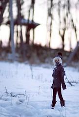 Walking at Sunset (Army-of-Me) Tags: park boy sky snow girl japan doll hokkaido sd bjd dollfie abjd bg meiji boygirl nemuro