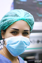 Lovely nurse (Mohamad Mzannar) Tags: blue light lebanon green smile canon photography 50mm medical shutter nurse beirut liban raee
