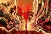 (quornflake) Tags: longexposure trees red orange lightpainting man tree wool yellow night fire weird fireworks sparklers fisheye lighttrails trippy sparks