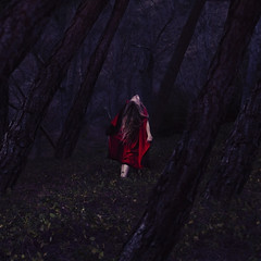 alive in the forest of old (brookeshaden) Tags: girl fairytale forest woods darkness littleredridinghood mysterious magical whimsical fineartphotography brookeshaden