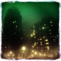 Spectral Evidence (Book'em) Tags: fog buildings iphone citynights iphoneography hipstamatic
