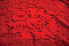 Happy Carpets - Party Zoo, red - detail