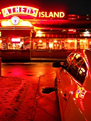 Night (timmerschester) Tags: red car night reflections lights neon diner