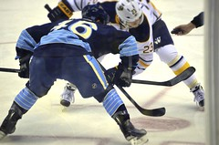 Face Off (bluejetjane) Tags: ice sports hockey nhl penguins team buffalo nikon pittsburgh pens faceoff sabres consol d5100 tiltshiftmaker