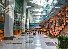 New Delhi Ghandi Airport (@Alebi) Tags: new people india reflection green glass colors architecture stairs reflections lights airport cool hands interior delhi indian bangalore tones hdr escelator newdelhi mudra bangluru canonef2470f28 shitbrix