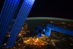 European Panorama at Night  (NASA, International Space Station, 01/22/12) (NASA's Marshall Space Flight Center) Tags: brussels holland london amsterdam europe britishisles belgium nederland bruxelles nasa northsea scandinavia brussel solarpanels internationalspacestation earthatnight canadarm2 stationscience crewearthobservation netherlkands stationresearch spacestationremotemanipulatorsystem iss030e048067