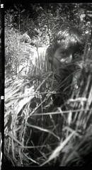 The garden at St. Patrick's Road, Coventry (Joybot) Tags: camera uk greatbritain portrait england bw white man black guy film face field grass vintage mediumformat garden person one code long looking close kodak unitedkingdom box britain young seed straw number negative hide single frame angleterre roll brownie peek backgarden coventry hiding peeking westmidlands fogged visage individual midlands jessops 620 boxbrownie  r100    bwfp