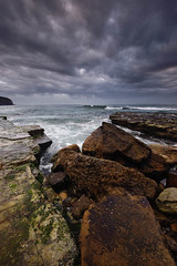 Turimetta (Tony Curulli) Tags: ocean seascape beach water weather clouds sunrise dawn nikon rocks surf ominous sydney wave australia stormclouds narrabeen 1635 northernbeaches d700 turimetta