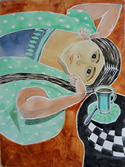 Laurette with Coffee Cup 02 (Dona Mincia) Tags: woman art caf illustration watercolor painting paper study tribute lying homage ilustrao xcara homenagem releitura henrymatisse aquarela rereading relecture laurettewithcoffeecup moadeitada