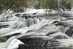 Winter at Bond Falls ~ Upper Bond Falls ~ Paulding, Michigan (Michigan Nut) Tags: longexposure trees winter usa snow ice nature water outdoors waterfall midwest frost michigan spray rapids waterfalls flowing cascade bondfalls johnmccormick michigannutphotography
