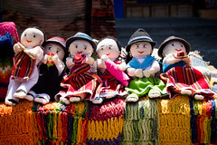 Six puppets (Marc Rauw.) Tags: colors geotagged ecuador colorful colours market kitlens olympus textile puppets colourful olympuspen otovalo m43 flickrduel 1442mm epl1 microfourthirds geo:lat=0232686 43 geo:lon=78261365