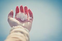 White as snow (Kaat dg) Tags: winter light snow cold snowflakes nikon hand bokeh 18 flakes d5100