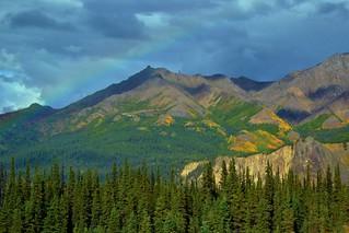 Rainbow over Alaska, mountains in Denali National Park