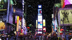 times square blurry snow (FlavioSarescia) Tags: nyc newyorkcity winter snow ny bokeh timessquare
