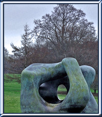 Henry Moore - formation (littlestschnauzer) Tags: park uk family trees winter two sculpture cold tree green art grass rural out outside big nikon artist day outdoor bare yorkshire large tourist henry moore massive huge forms through sculptures cultural attraction 2012 ysp d5000