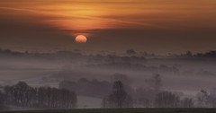 South Downs Misty Sunrise (JamboEastbourne) Tags: park trees sun mist misty sunrise downs spring south national berwick alfriston downland