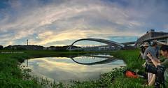 () (szintzhen) Tags: bridge sunset sky cloud reflection taiwan photomerge      sunglow      newtaipeicity