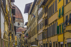 Brunelleschi dome in Florence (valeriorosati) Tags: old city travel windows italy tourism church monument florence flags medieval roofs dome shutters duomo attraction brunelleschi prospective santamariainfiore