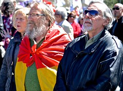 flags, Madrid, May 1, parade, political parties, unions. (David McSpadden) Tags: madrid men flag flags parade may1 politicalparties unionswoman