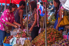 Tropical Fruits Market in Chanthaburi. (baddoguy) Tags: city people food tourism horizontal fruit shopping thailand photography community market business durian editorial customer merchandise choice agriculture economy twopeople variation buying mangosteen marketstall trader tropicalfruit traveldestinations colorimage smallbusiness readytoeat marketvendor financeandeconomy retailoccupation businessfinanceandindustry