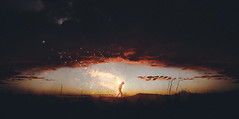 F a r (Wladimir_J) Tags: sunset red sky orange cloud sun sunlight man black art beauty sunshine silhouette clouds sunrise landscape fire artwork sundown fineart burn lensflare edit particles sunflare