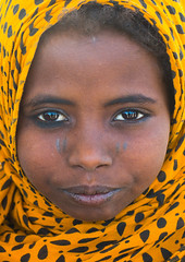 Close up of an afar tribe girl, Afar region, Assayta, Ethiopia (Eric Lafforgue) Tags: africa girls portrait people color cute girl childhood yellow vertical closeup scarf outdoors photography child veiled african muslim islam tribal headshot ethiopia tribe beautifulpeople scarification oneperson hornofafrica individuality ethiopian afar eastafrica abyssinia traditionalclothing greatriftvalley lookingatcamera danakil africanethnicity 1people asayta indigenousculture onegirlonly afarregion africantribe nomadicpeople onechildonly assaita asaita assayta ethio162512