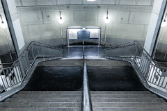 Metro Station Paris (eddy.kamalsky) Tags: old travel urban paris france lines architecture stairs subway tank metro steel rail slippery