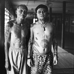 Iban tattoo - Boy and his uncle - Nanga Mejong, Sarawak - Borneo (P_mod) Tags: blackandwhite white black film tattoo ink square hasselblad borneo iban pmod