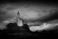 . (iker_oa) Tags: sky white black church clouds contrast high dramatic iglesia contraste alava alto euskadi arroiabe arroyabe