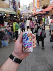 A fizzy drink with Manga cartoons, Seoul!